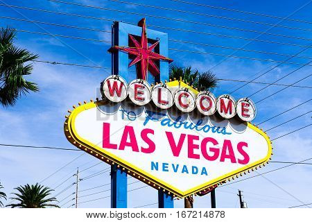 A view of Welcome to Fabulous Las Vegas sign in Las Vegas Strip at day time poster