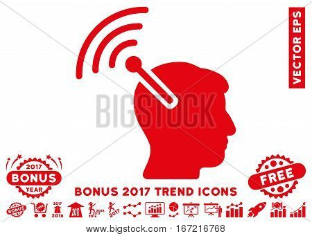 Red Radio Neural Interface pictograph with bonus 2017 trend images. Vector illustration style is flat iconic symbols, white background.