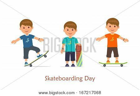 Cartoon set guys riding on a skateboard. Urban citizen sports lifestyle. Isolated set young skaters in different poses on skateboard on white background. Vector illustration in flat style.