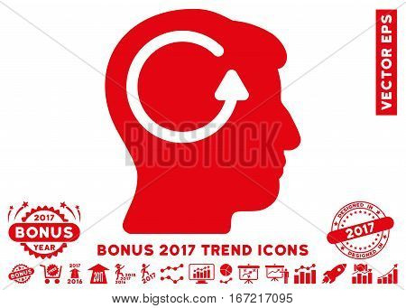Red Refresh Head Memory pictograph with bonus 2017 year trend clip art. Vector illustration style is flat iconic symbols, white background.
