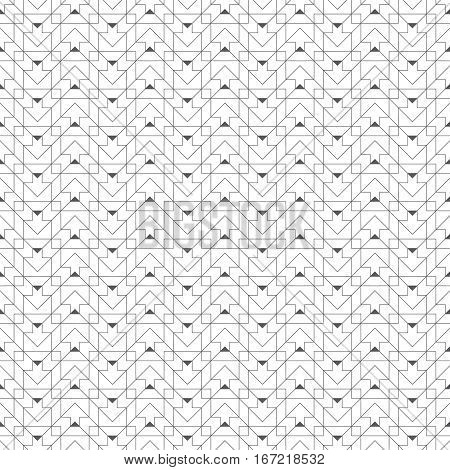 Geometrical seamless pattern. Stylish modern texture. Regularly repeating zigzag tiles with intersecting linear shapes. Vector abstract seamless background. Thin line grid. Contemporary design