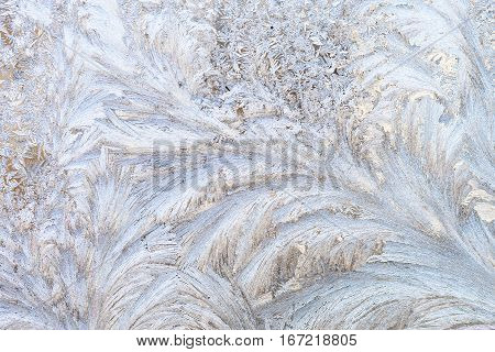 Winter ice patterns on window.  Winter background