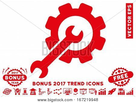Red Setup Tools pictograph with bonus 2017 year trend clip art. Vector illustration style is flat iconic symbols, white background.