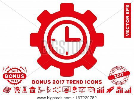 Red Time Setup Gear icon with bonus 2017 year trend clip art. Vector illustration style is flat iconic symbols, white background.