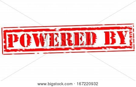 POWERED BY Red Stamp Text on white backgroud