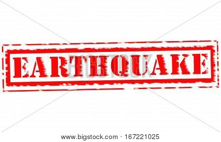 EARTHQUAKE Red Stamp Text on white backgroud