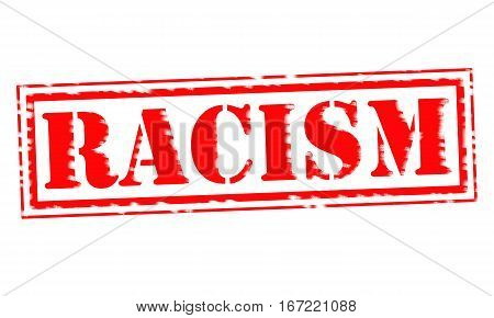 RACISM Red Stamp Text on white backgroud