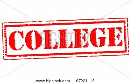 COLLEGE Red Stamp Text on white backgroud