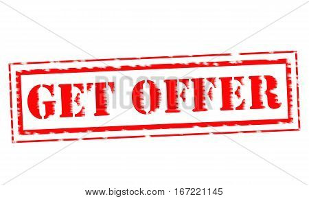 GET OFFER Red Stamp Text on white backgroud