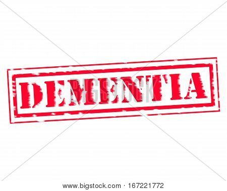 DEMENTIA RED Stamp Text on white backgroud