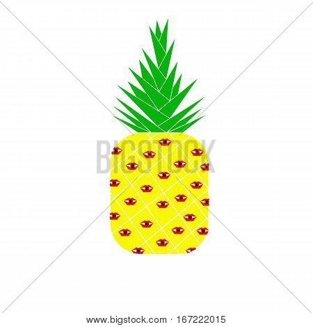 Pineapple yellow, red eyes wide.vector eps 10
