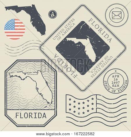 Retro vintage postage stamps set Florida United States theme vector illustration