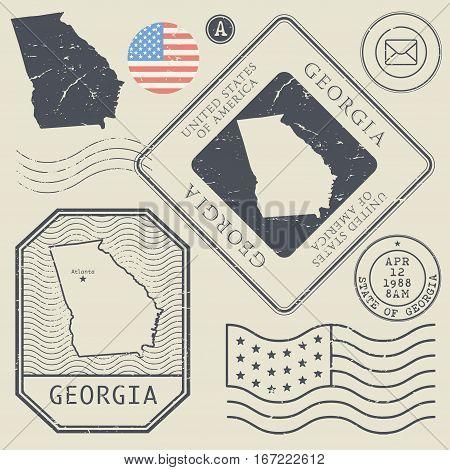 Retro vintage postage stamps set Georgia United States theme vector illustration