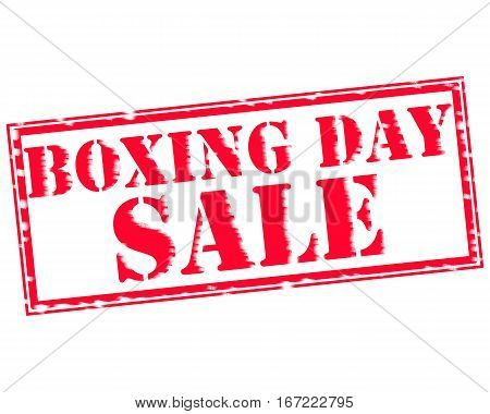 BOXING DAY SALE RED Stamp Text on white backgroud