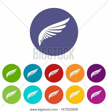 Wing set icons in different colors isolated on white background