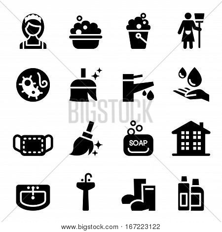 housekeeper & Cleaning icons set Vector illustration graphic design