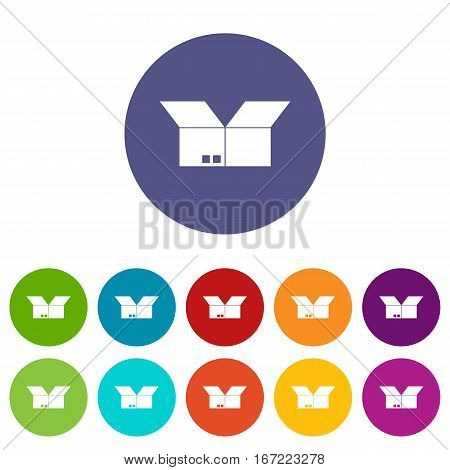 Opened cardboard box set icons in different colors isolated on white background