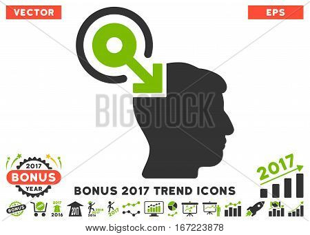 Eco Green And Gray Brain Interface Plug-In icon with bonus 2017 year trend pictograms. Vector illustration style is flat iconic bicolor symbols, white background.