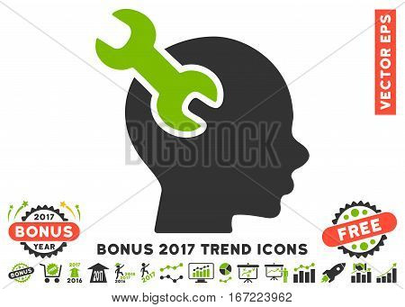 Eco Green And Gray Brain Service Wrench pictogram with bonus 2017 year trend pictograph collection. Vector illustration style is flat iconic bicolor symbols, white background.