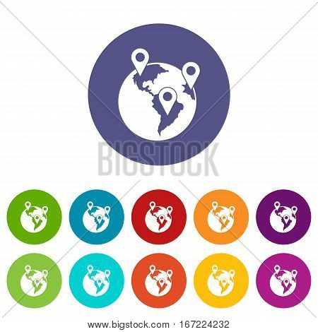 Globe and map pointers set icons in different colors isolated on white background