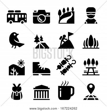 Tourism travel Adventure Discovery camping Trail icon set