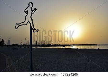 Dubai Kite beach at sunset Jumeirah, Dubai, United Arab Emirates