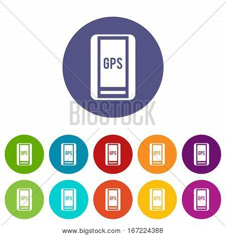 Global Positioning System set icons in different colors isolated on white background