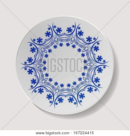 Realistic Plate Vector. Closeup Porcelain Tableware Isolated. Ceramic Kitchen Dish Top View. Cooking Template For Food Presentation.