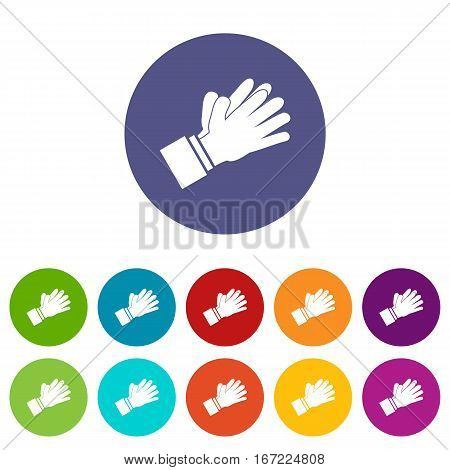 Clapping applauding hands set icons in different colors isolated on white background