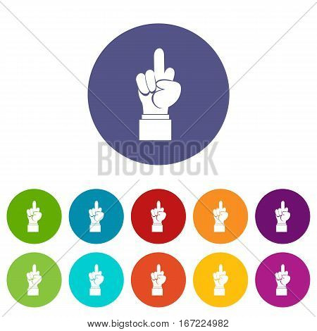 Middle finger hand sign set icons in different colors isolated on white background