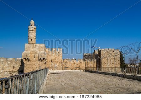 The Tower of David the ancient Jerusalem Citadel near the Jaffa Gate in Old City of Jerusalem Israel