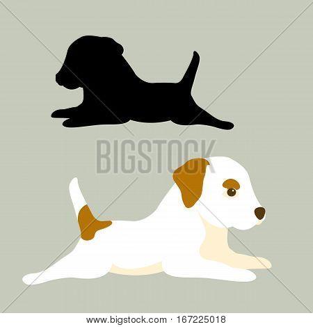 Terrier vector illustration style Flat set silhouette