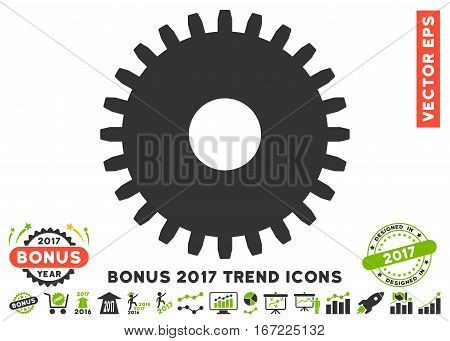 Eco Green And Gray Cogwheel icon with bonus 2017 year trend icon set. Vector illustration style is flat iconic bicolor symbols, white background.