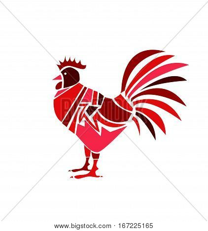 red rooster on white background vector illustration