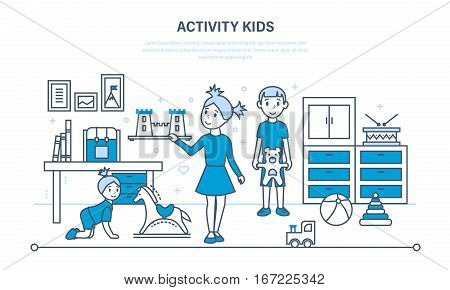 Activity kids, hobbies, entertainment, games, in the basic time of activities against the background of an interior room. Illustration thin line design of vector doodles, infographics elements.