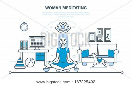Woman meditating. Girl in the lotus position, relaxing in quiet, restore strength, against the background of an interior room. Illustration thin line design of vector doodles, infographics elements.