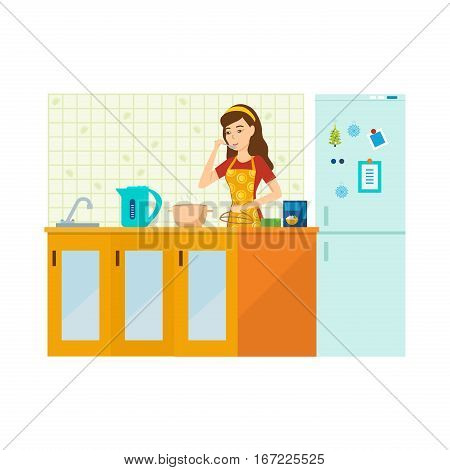 Woman housewife is engaged in preparing a meal in the kitchen with furniture, tasting the food, standing beside a table on a background of interior room. Vector illustration.