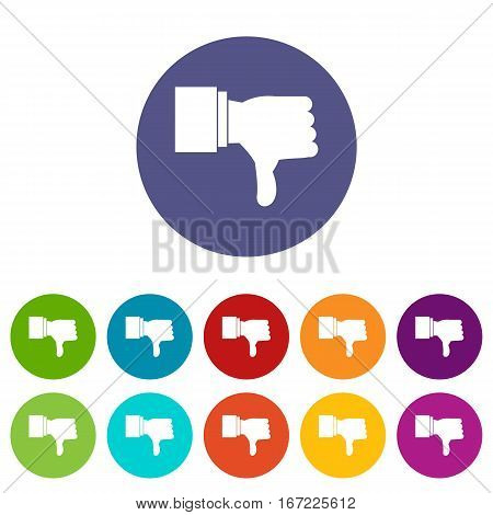 Thumb down gesture set icons in different colors isolated on white background