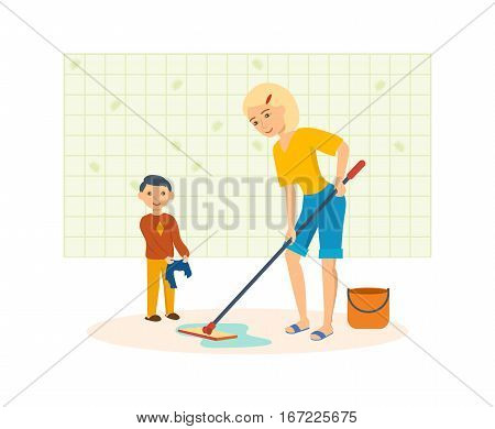 Woman housewife and interior room. Young mother washes the floors with a mop in the room, next a little boy in hands holds a rag. Vector illustration. Can be used in banner, mobile app, design.