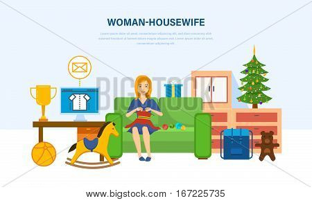 Woman housewife, in a comfortable, quiet environment, knitting on the couch, and is engaged in household chores. Vector illustration. Can be used in banner, mobile app, design.