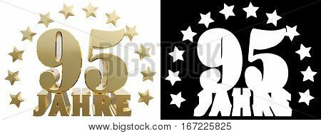 Golden ninety five and the word of the year decorated with stars. Translated from the German. 3D illustration
