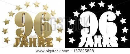 Golden ninety six and the word of the year decorated with stars. Translated from the German. 3D illustration