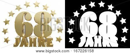Golden sixty eight and the word of the year decorated with stars. Translated from the German. 3D illustration