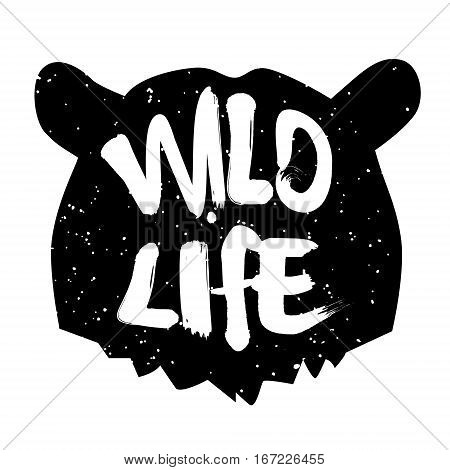 Bear head silhouette with text wild life. Lettering style. Vector icon.
