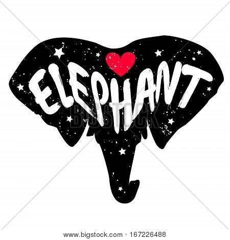 Elephant head silhouette with inscription and red heart. Lettering text Love elephant. Vector.