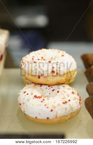 Fresh Baked Crust Donut On Sale In Cafe