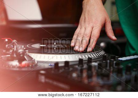 Hip Hop Dj Scratch Vinyl Records On Turntable Player