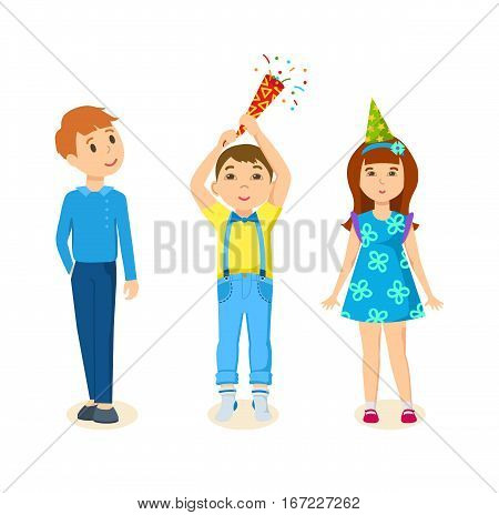Children, in a beautiful, festive, elegant suit, celebrate a birthday. Blast petard, and enjoy the holiday. Cartoon vector illustration isolated on white background.
