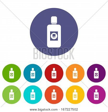 Bottle of green mouthwash set icons in different colors isolated on white background