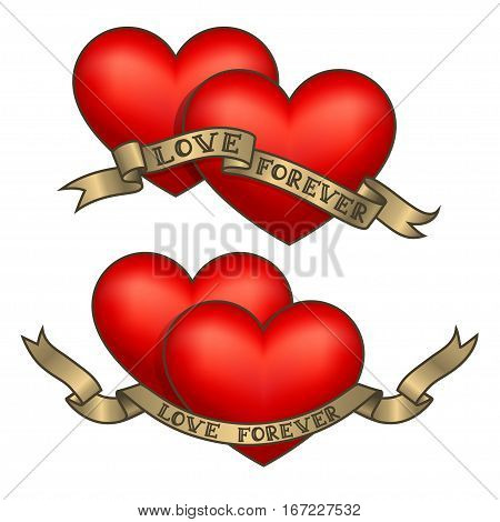 Retro tattoo hearts with gold ribbons. Happy Valentine's Day card. Vector illustration. Old school vintage style hearts